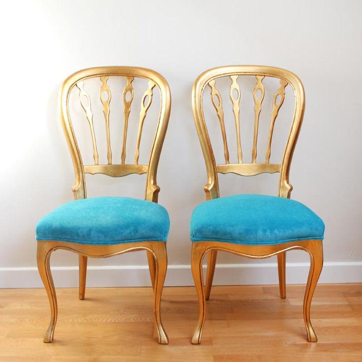 17 mejores ideas sobre sillas doradas en pinterest - Sillas azules comedor ...