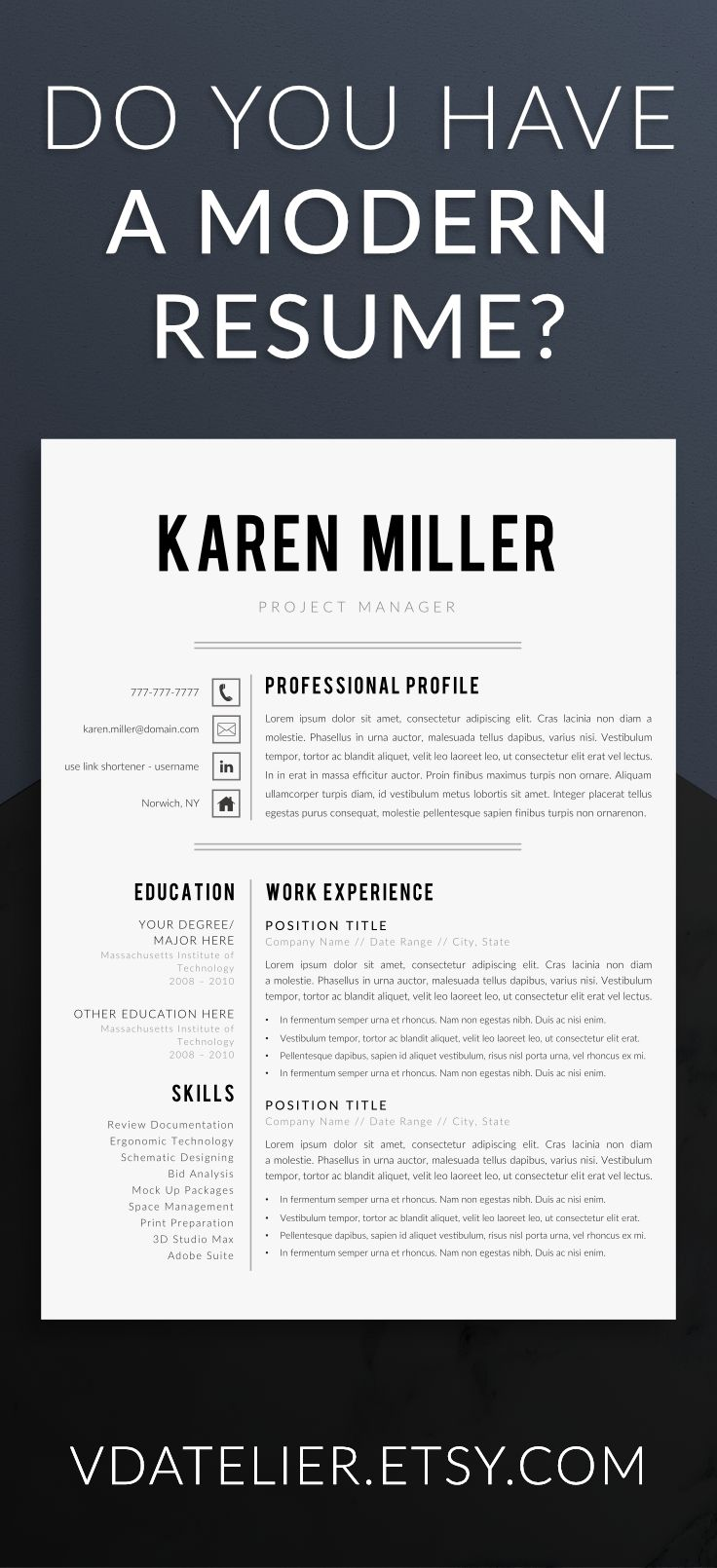 Modern and minimalist resume template for serious professionals.