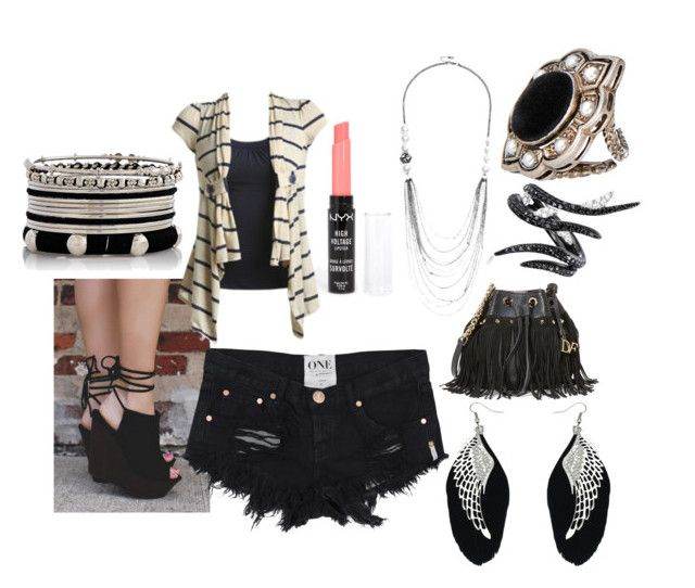 """""""Black, White, & Silver Outfit"""" by taishacasimir on Polyvore featuring Diane Von Furstenberg, NYX, Wet Seal, GUESS, Gucci and AS29"""