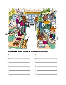 Clothing Store Vocabulary Worksheet | Vocabulary worksheets ...