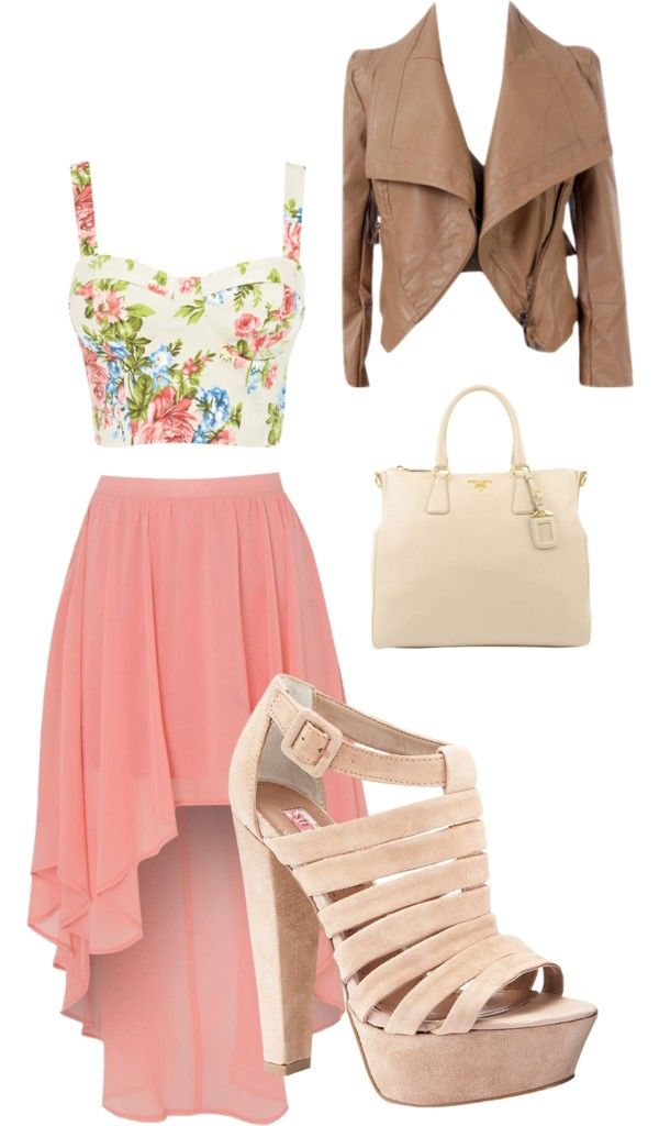 Floral crop top and pink high-low skirt-- this is so @Sheslie Laurore and I.