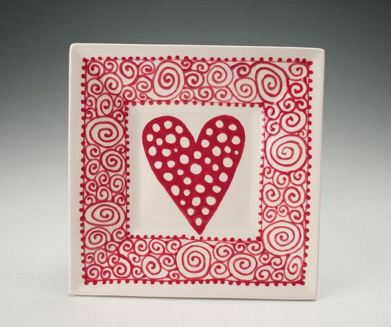 """This hand painted red and white plate is 6"""" square. It is slip cast for uniformity and ease of use. Back is decorated and signed. These little"""