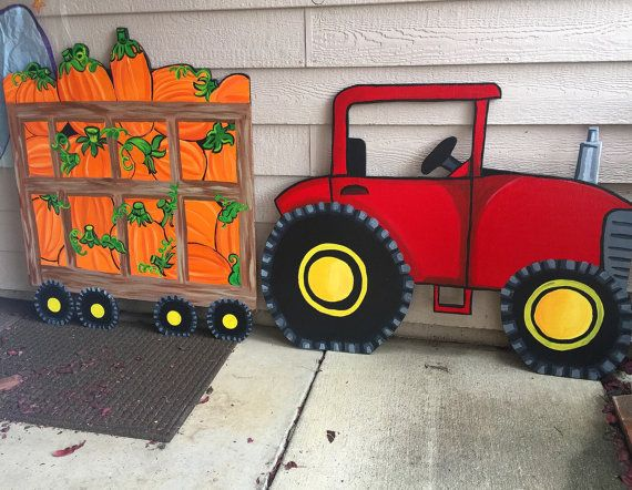 Red Tractor Tractor Yard Decor Wooden Yard Cutout by CreativChick