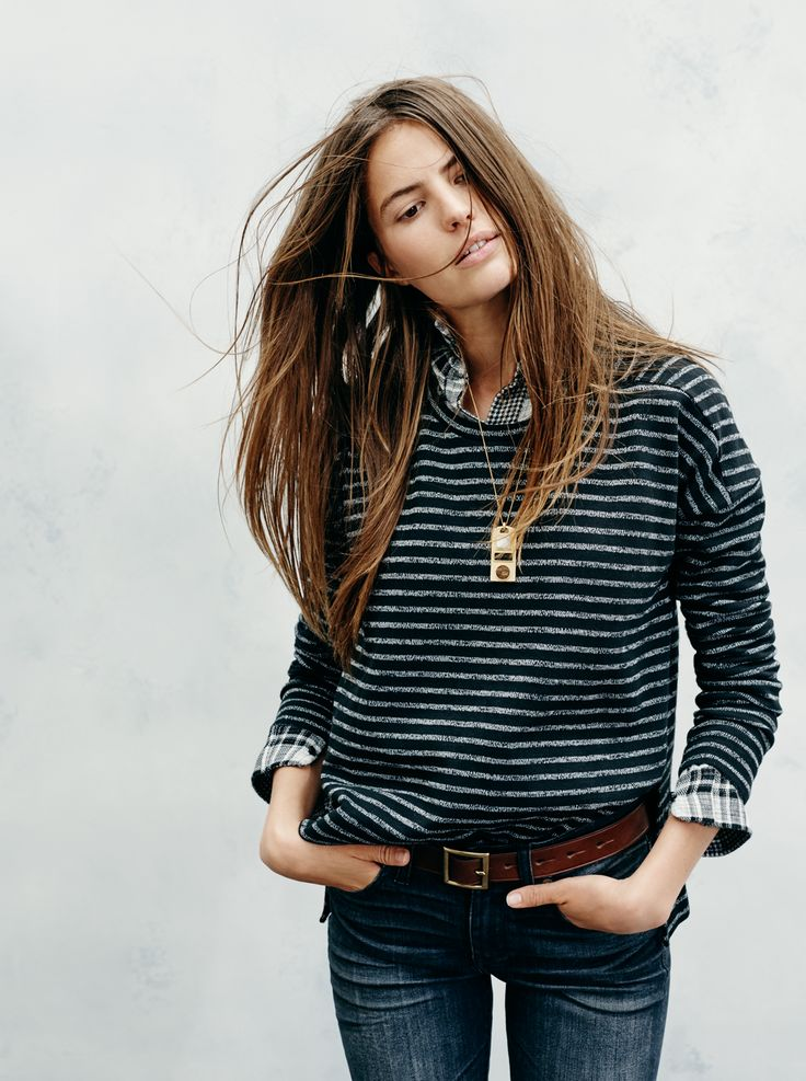 """madewell marled stripe top worn with the ex-boyfriend shirt in kemp plaid, 9"""" high riser skinny skinny jeans in kincaid wash, square buckle belt + changeling pendant necklace. #denimmadewell"""
