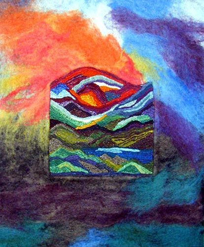 Golden Eye of the Sun by Joanna Gleason...    weaving on top of painting, felting or weaving