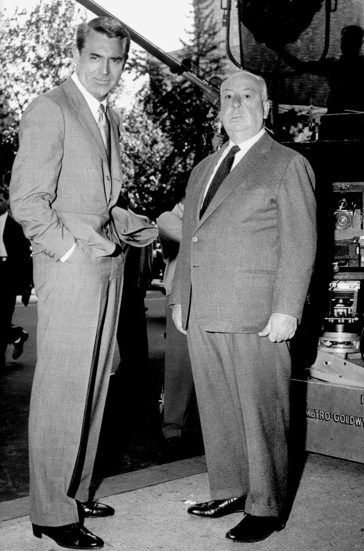 Cary Grant e Hitchcock no set de Intriga Internacional