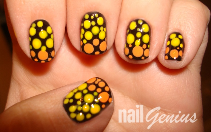 Halloween Dotted Gradient nail art | Nail art, Gradient ...