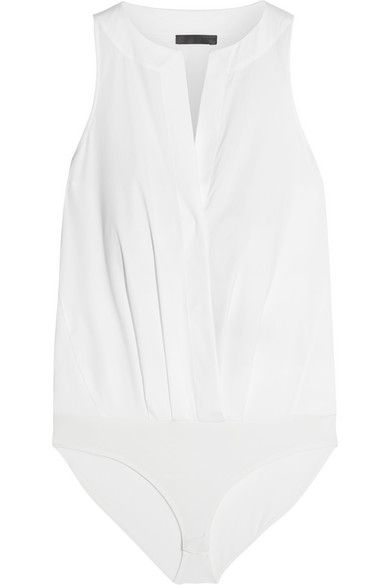 Designed to look like a blouse, Donna Karan New York's bodysuit is cut from white stretch-poplin for a close fit and is flatteringly gathered at the front. The stretch-jersey briefs ensure it stays neatly anchored under clothing, making it the perfect underpinning to smart tailoring. Shop the look at NET-A-PORTER