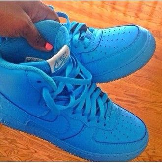 shoes nike air force 1 sneakers earphones powder blue high top air force ones airforce1 forces af1 sky blue blue shoes high tops swag style spring fun casual
