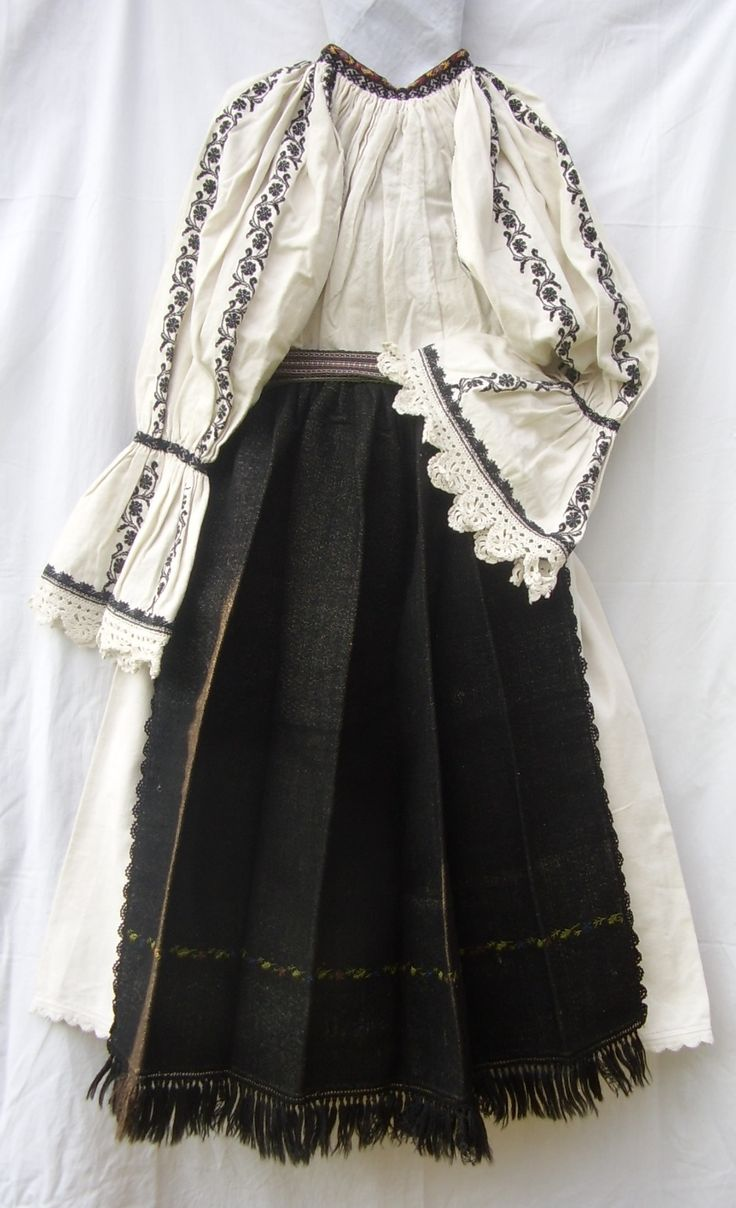 traditional romanian blouse & skirt from the transilvanian mountain area (apuseni)