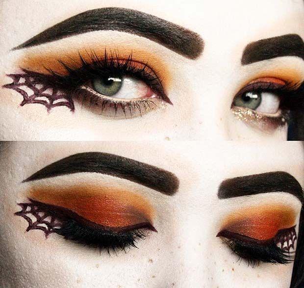 23 Easy, Last-Minute Halloween Makeup Looks: #1. SPIDER WEB MAKEUP; #halloweenmakeup
