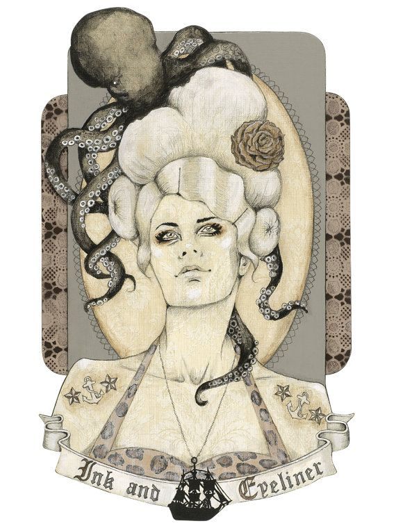 Giclee print by Andy McCready - 'INK AND EYELINER' - Limited edition, large, octopus, tattoo, nautical, Prints by giltandenvy on Etsy.