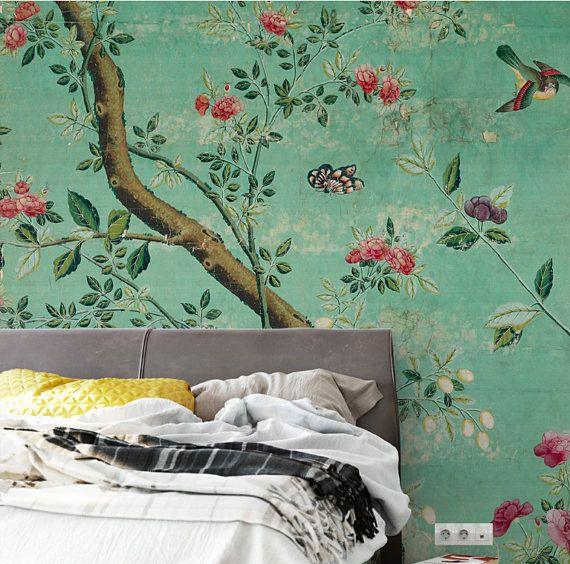 Emerald Green Chinoiserie Wallpaper Self-Adhesive Vintage Shabby Branch Birds Wallpaper Removable Wall Mural Dark Green Blossoms Wall Decal