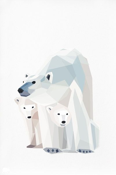 Geometric illustration Polar bear and cubs by TinyKiwiCreations