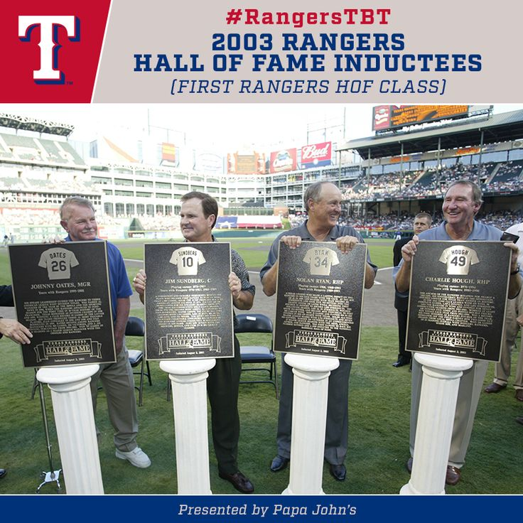 #RangersTBT to 2003 when we inducted our first Texas Rangers Hall of Fame Class with Johnny Oates, Jim Sundberg, Nolan Ryan, & Charlie Hough.