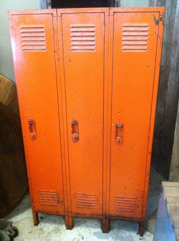 orange set of 3 lyon vintage metal lockers