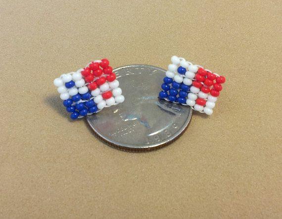 Earrings Post Beaded Panama Pair Panama flags by QueXopaPanama