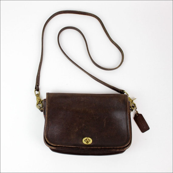 Coach brown leather sling bag / long strap cross body bag ($55.00) - Svpply