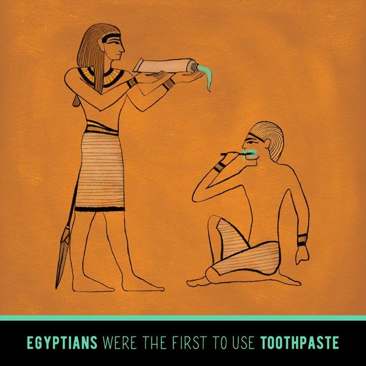 DID YOU KNOW that ancient Egyptians invented the first toothpaste? Their main ingredients were eggshells and pumice! (We still recommend fluoride toothpaste.)