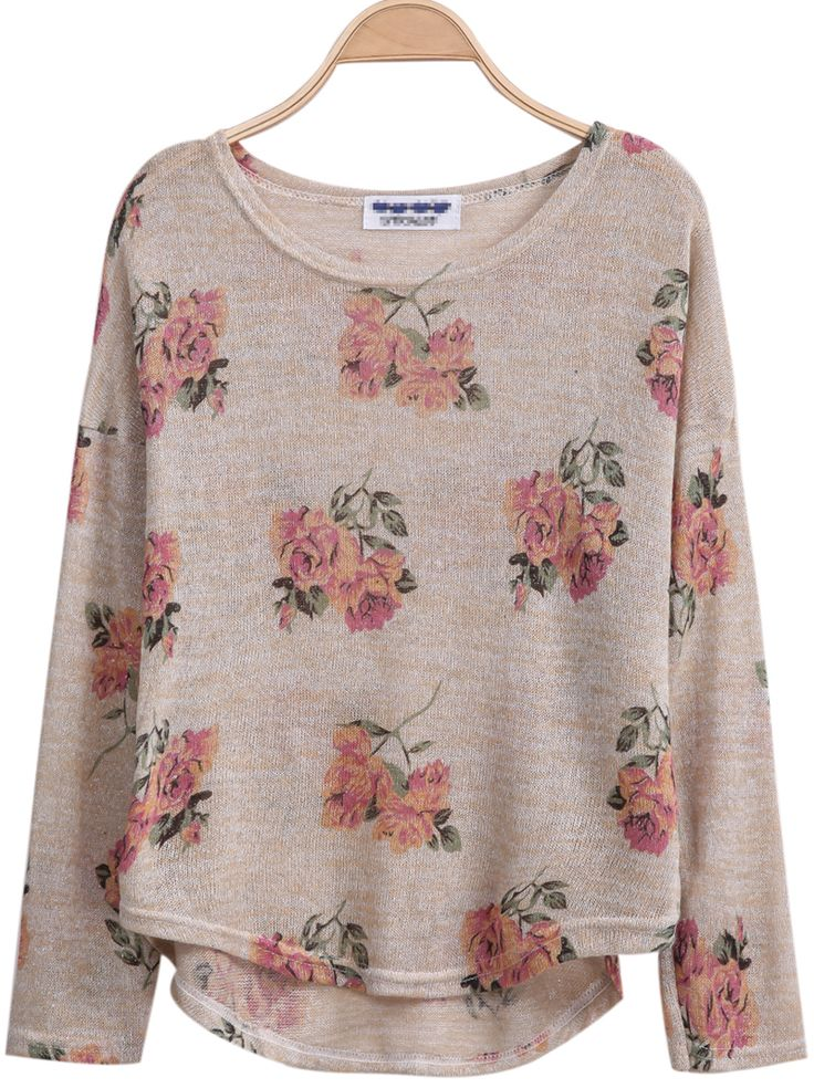Shop Aprioct Long Sleeve Florals Print Dipped Hem Knitwear online. Sheinside offers Aprioct Long Sleeve Florals Print Dipped Hem Knitwear & more to fit your fashionable needs. Free Shipping Worldwide!
