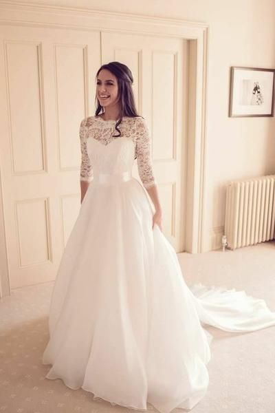 See Through Neckline Lace Ivory Wedding Dresses 3 4 Sleeves In 2019