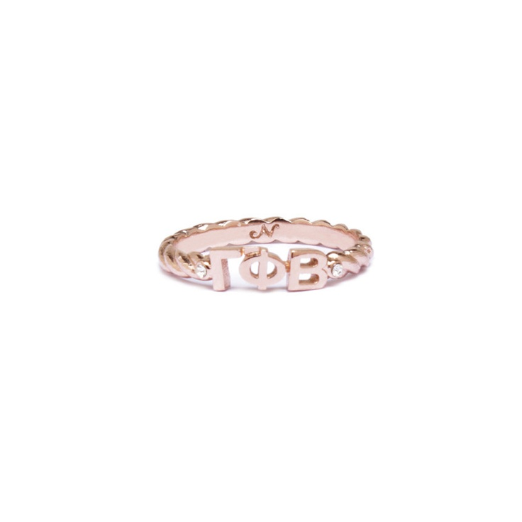 GAMMA PHI BETA - Rose Gold Pavé Twist Letter Ring by Nava | Nava New York.