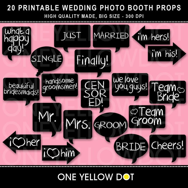 Wedding Photo Booth Props Printable Pdf Personal And Commercial Use No Credit Required