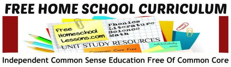 Free Home School Curriculum Free of Common Core  quite a few links to various free materials. A lot to peruse.
