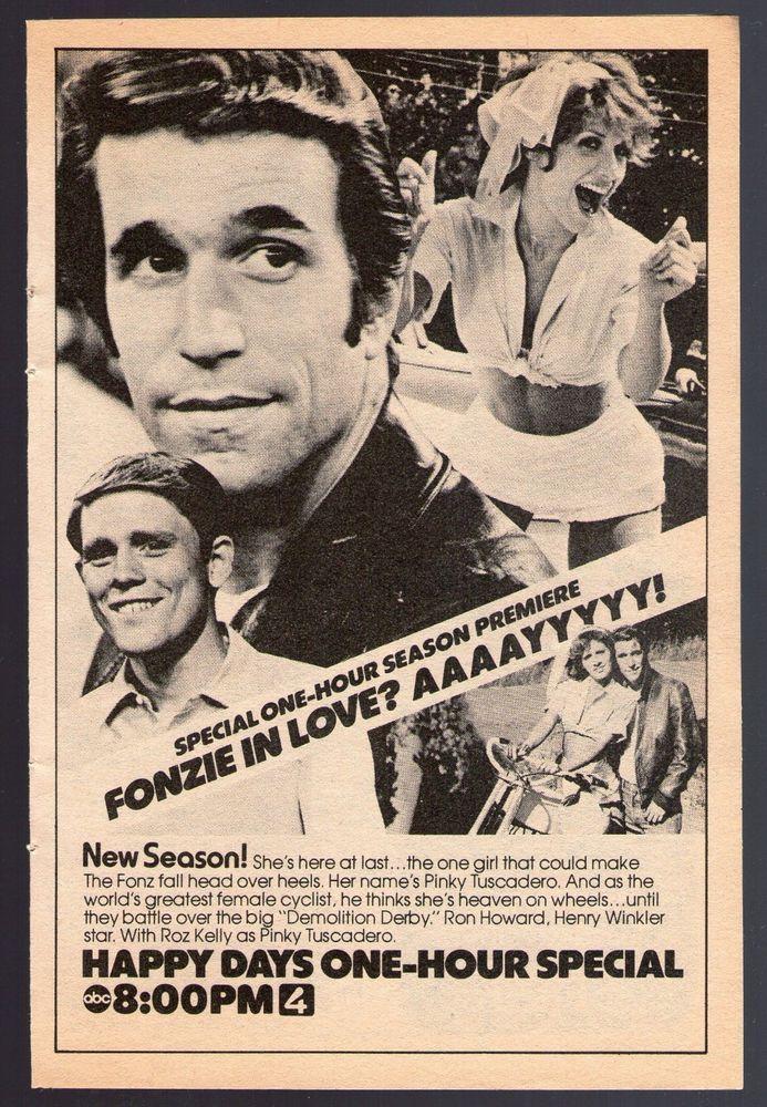 1976 Tv Ad~HAPPY DAYS~ROZ KEELY~PINKY TUSCADERO~FONZ~HENRY WINKLER~RON HOWARD