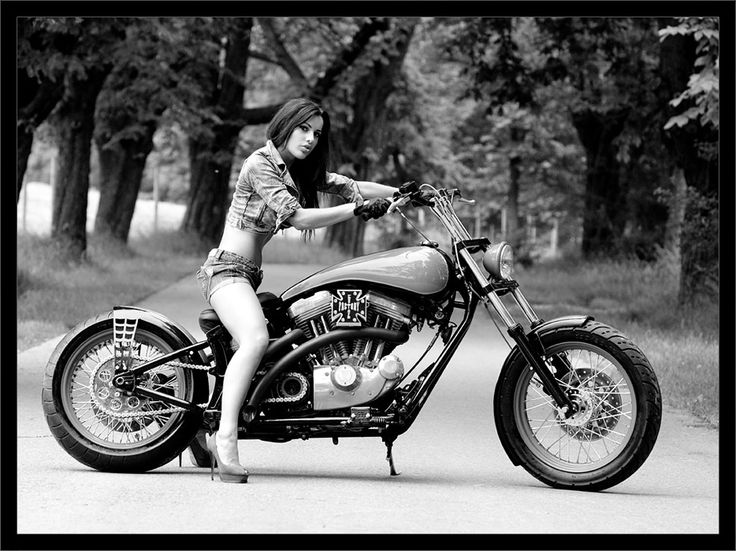 Black And White Photo Girl On Motorcycle