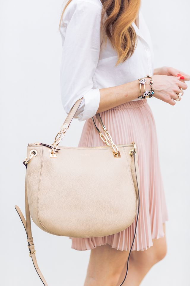 Neutral feminine outfit with henri bendel bag M Loves M @marmar