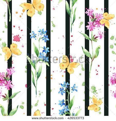 Butterflies, summer flowers, black striped background. Watercolor. Trendy floral pattern