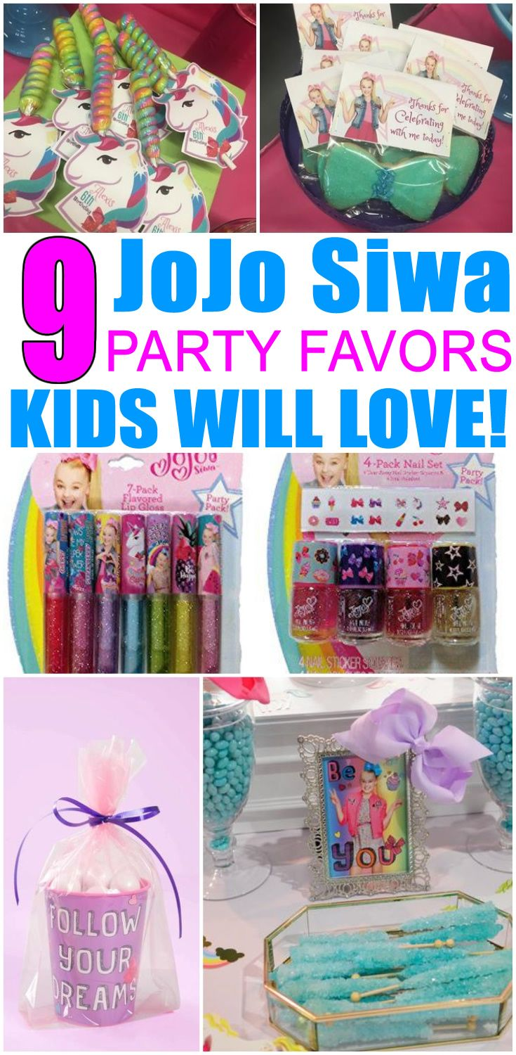 JoJo Siwa Birthday Party Favors! JoJo Siwa bows, party bags, goodie bag & more ideas. Get the best JoJo Siwa birthday party ideas. Best ideas for boys and girls for a bday or classroom party. Candy, gum, toys & more kids and children of all ages will love. DIY or buy some fun JoJo Siwa party favors. Find JoJo Siwa birthday party ideas now! #party #kidsparty #partyfavors