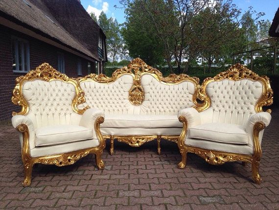 Antique Italian Rococo 5 Piece Chair Tufted White Leather Fauteuil Bergere Sofa Settee Couch French Louis XVI Baroque Refinished Gold Leaf