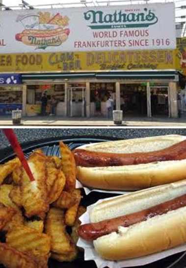 HOT DOGS & FRIES - Nothing conjures up fonder memories than scarfing down a couple of dogs at Nathan's when I was a kid in Brooklyn.  All the Nathans at various airports are just not the same.