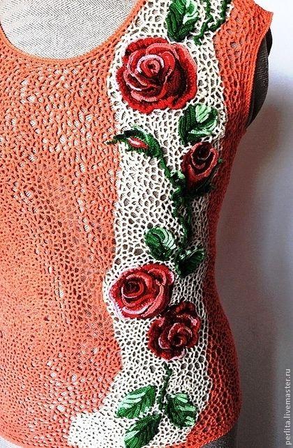 Вязаный топик Аромат роз - коралловый,цветочный,ирландские кружева,фриформ