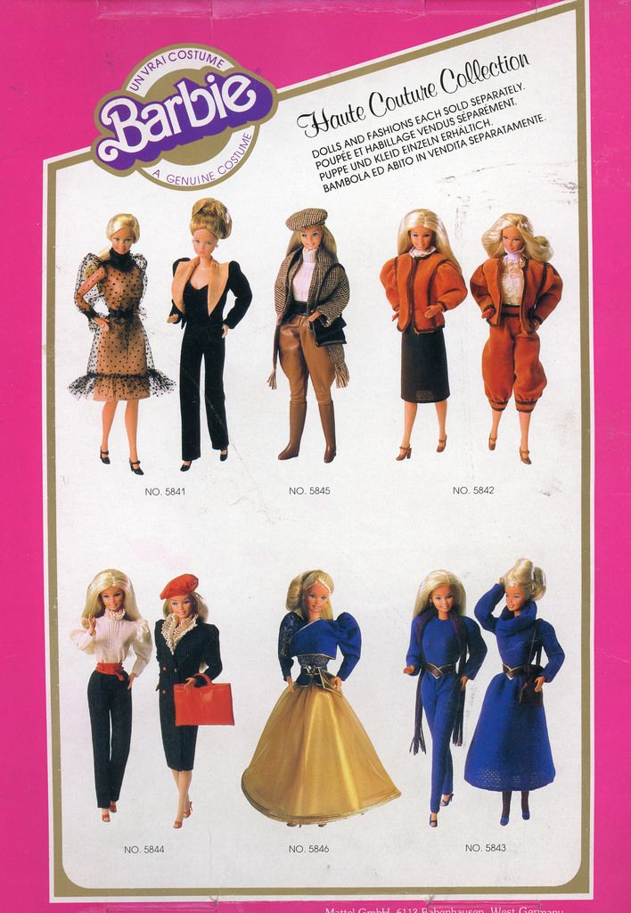 The 1982 Haute Couture collection is my favourite Barbie range, closely followed by the 1982 Fashion Fantasy range and Fashion Classics. 5845 is everything! It's a shame it's so hard to find.  I wasn't sure about 5842 (Elizabethan breeches?!) until I bought it and realised it was inspired by the New Romantic movement. Pink N Pretty Christie's rocking the dandy highwayman look as I write...  It's nice to see Parisian Barbie modelling on the Haute Couture packaging, and not just the usual…