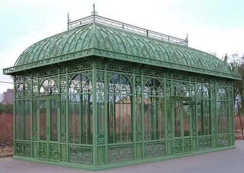 Botou manufacturer of Durable and high quality galvanized Steel frame garden greenhouse for sale with glass HS-GREENHOUSE-1