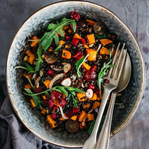 Ditch pumpkin spice lattes and get your fall pumpkin fix in a nutrient-packed salad. You'llcut back on major calories, too.  Get the recipe atThe Awesome Green.