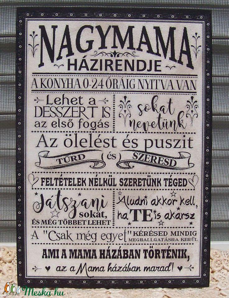 Nagymama házirendje  szöveges  falikép, táblakép (vintagedesign) - Meska.hu