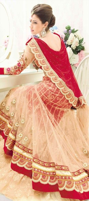 143924, Mehendi & Sangeet Lehenga, Net, Machine Embroidery, Resham, Stone, Patch, Zari, Border, Thread, Lace, Beige and Brown Color Family