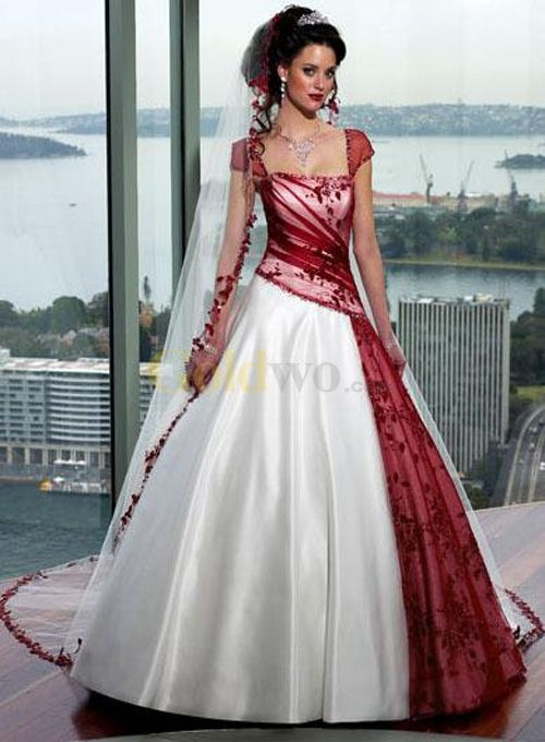 [US$245.99] Red White A-line Strapless Satin Tulle Cap Sleeve Wedding Dress