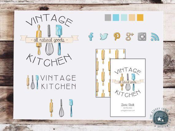 Mano disegnato pacchetto Branding - Business identità - Premade Logo - personalizzabile - biglietto da visita - Social Media Icons - Vintage - Food Blog