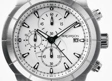 Relógio Bergerson Chrono Brushed, pulseira em aço,  mostrador branco, cronógrafo, data e movimento a quartz. Bergerson