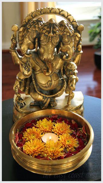 Ganesha & marigolds