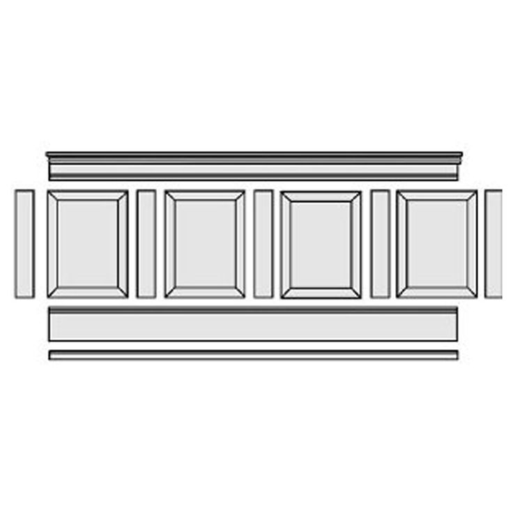 "37""H x 96""L Adjustable Height Raised Panel Wainscoting Kit - 224.99"