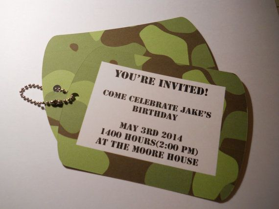 Army Dog tag Birthday Party Invitations by KardsbyKaylee on Etsy, $2.50