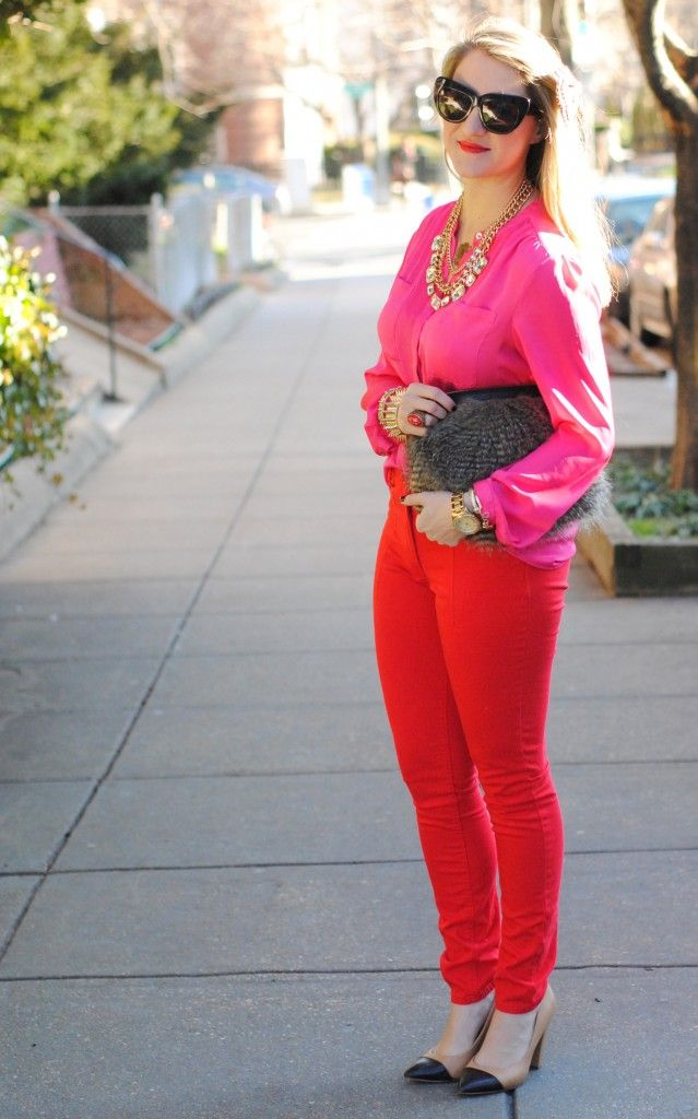 Red and hot pink: Colors Pants, Hair Bows