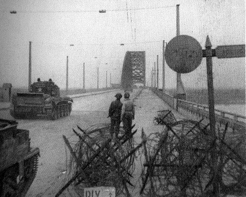 British tanks advance across Nijmegen bridge over the Waal on September 22, 1944 (Operation Market-Garden)