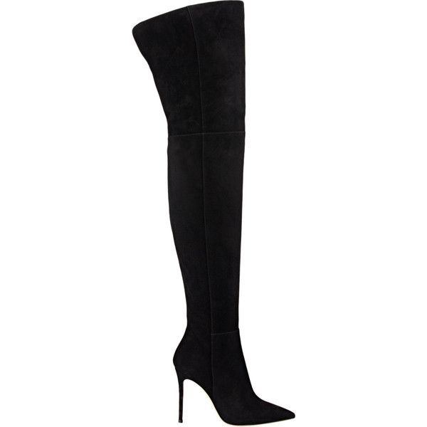 Gianvito Rossi Suede Cuissard Boots (2 795 AUD) ❤ liked on Polyvore featuring shoes, boots, black, over-the-knee boots, suede boots, thigh boots, black boots, thigh high boots and over-knee boots